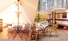 캠핑 하기 좋은 계절<br>지역별 글램핑 & 카라반 추천